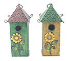 FALL TIN BIRDHOUSE W/ SUNFLOWER ACCENTS