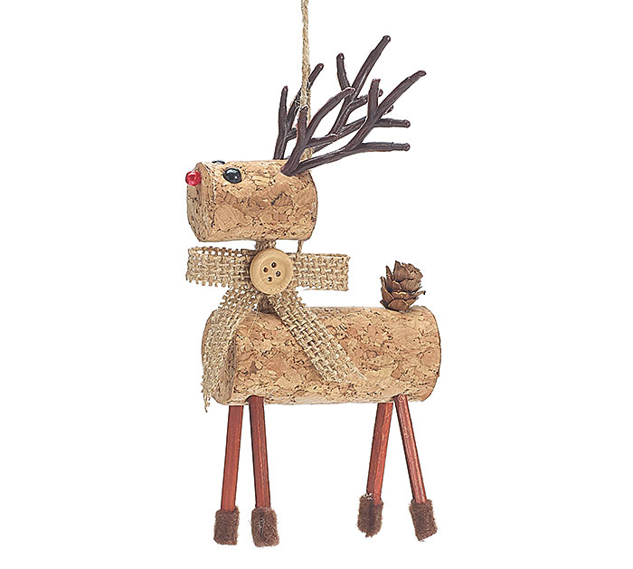 CORK AND TWIG REINDEER ORNAMENT