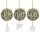 NATURAL WOOD HOLY MESSAGES ORNAMENT SET