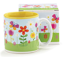 FLOWER GARDEN BUTTERFLY MUG W/BOX