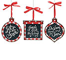 PEPPERMINT SNOW TIN ORNAMENT SET