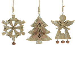 RUSTIC WOOD CHRISTMAS THEME ORNAMENT SET
