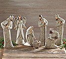 7 PIECE BIRCH BARK RESIN NATIVITY
