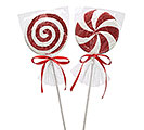 "18.25"" GLITTER PEPPERMINT CANDY PICK SET"