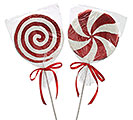 "24"" GLITTER PEPPERMINT CANDY PICK SET"