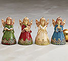 HAND-PAINTED PROCELAIN ANGEL BELL SET