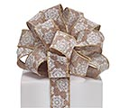 #9 SNOWFLAKES ON BURLAP WIRED RIBBON