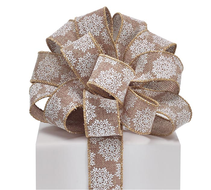 9 SNOWFLAKES ON BURLAP WIRED RIBBON