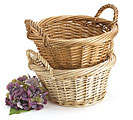 NATURAL OR DARK OVAL WILLOW BASKET SET