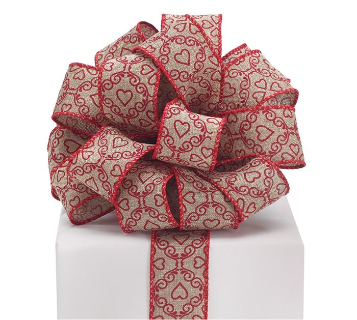 #9 RED HEARTS ON BURLAP WIRED RIBBON