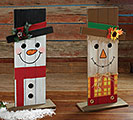 REVERSIBLE WOOD SCARECROW/SNOWMAN