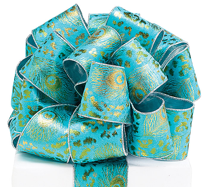 #40 GOLD PEACOCK TURQUOISE WIRED RIBBON