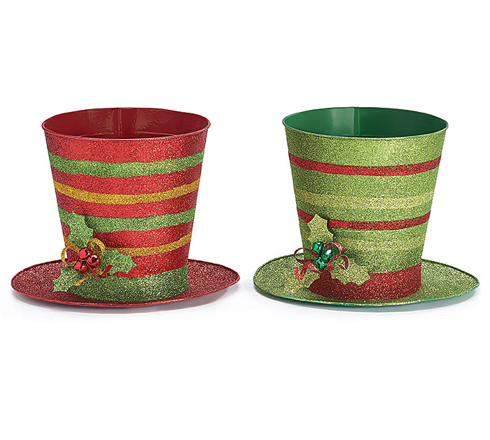 LARGE TIN CHRISTMAS TOP HAT POT COVER