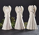 WHITE EMBOSSED PORCELAIN ANGEL TRIO