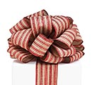 #40 RED/KHAKI STRIPE WIRED RIBBON