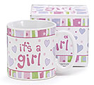 IT'S A GIRL HEARTS/DOTS CERAMIC MUG