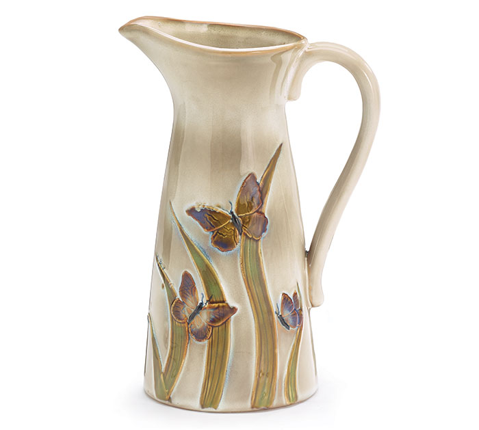 NATURAL PORCELAIN BUTTERFLY PITCHER