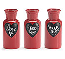 VALENTINE MESSAGES BOTTLE VASE SET