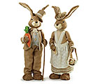"DECOR 43""H DANDY RABBIT COUPLE OF SISAL"