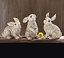 CREAM RESIN BUNNY FIGURINE SET