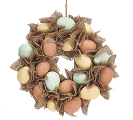 WREATH BURLAP AND EGGS