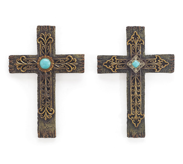 NATURAL RESIN CROSS W/TURQUOISE STONE