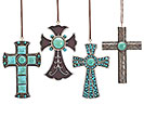 TURQUOISE/SILVER CROSS ORNAMENT SET