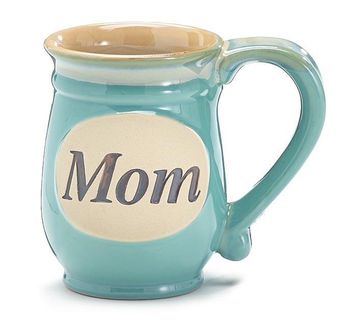 MINT GREEN MOM/MESSAGE PORCELAIN MUG