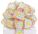 #9 SPRING FLORAL GEOMETRIC WIRED RIBBON