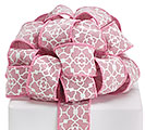 #9 PINK GEOMETRIC LINEN WIRED RIBBON