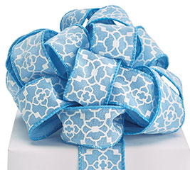 #9 BLUE GEOMETIC WIRED RIBBON