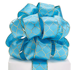 #9 TEAL/GOLD GEOMETRIC WIRED RIBBON