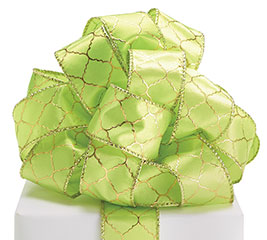 #9 LIME/GOLD GEOMETRIC WIRED RIBBON