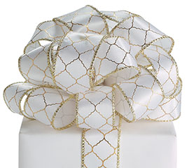 #9 WHITE/GOLD GEOMETRIC WIRED RIBBON