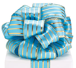 #40 TEAL/GOLD STRIPES WIRED RIBBON