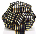 #40 BLACK/GOLD STRIPES WIRED RIBBON
