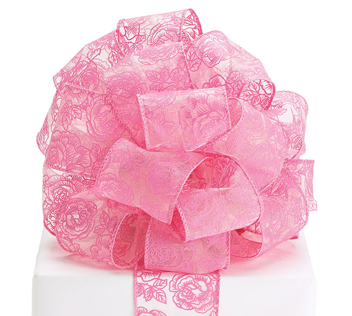 RIBBON #40 SHEER PINK ROSES