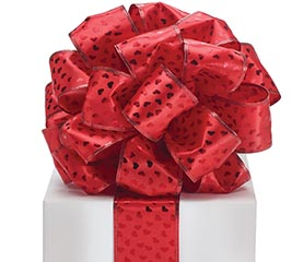 #40 RED METALLIC HEARTS WIRED RIBBON