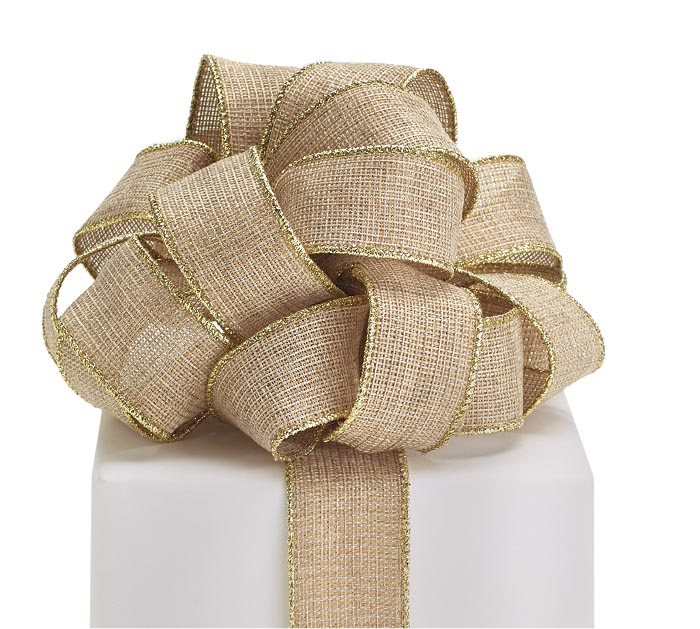 #9 KHAKI/GOLD EDGE WIRED RIBBON