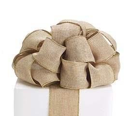 #40 GOLD KHAKI LINEN WIRED RIBBON