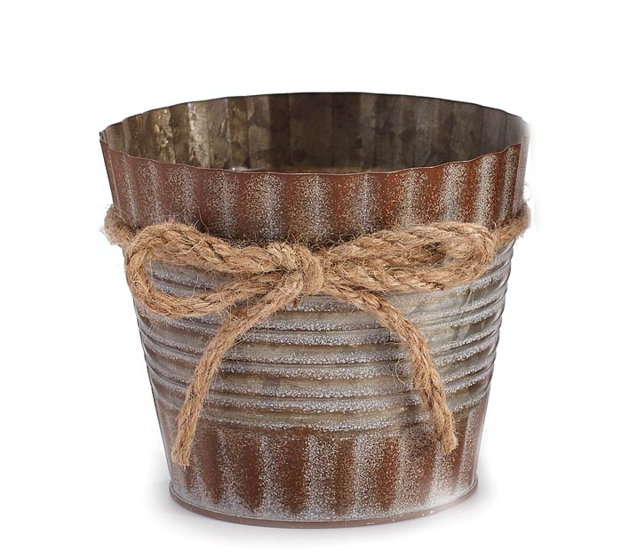 "4"" RUSTIC TIN POT COVER W/ TWINE BOW"