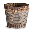 "6"" RUSTIC TIN POT COVER W/ TWINE BOW"