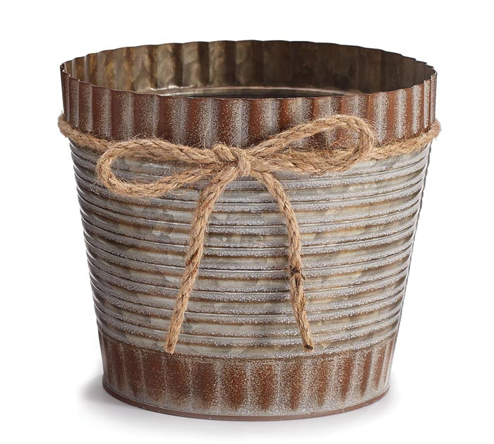 """6"""" RUSTIC TIN POT COVER W/ TWINE BOW"""