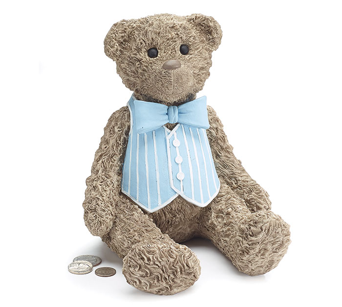 RESIN TEDDY BEAR/BLUE VEST BANK