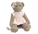 TEDDY BEAR IN PINK DRESS RESIN BANK