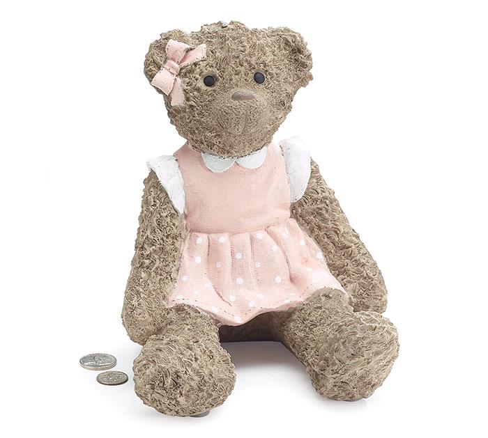 TEDDY BEAR IN PINK DRESS RESIN BANK