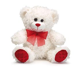 PLUSH WHITE/RED VALENTINE BEAR