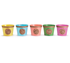 """POT COVER 4"""" BRIGHT COLORS WITH ROSETTE"""