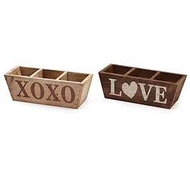 WOOD XOXO/LOVE DIVIDED PLANTER SET