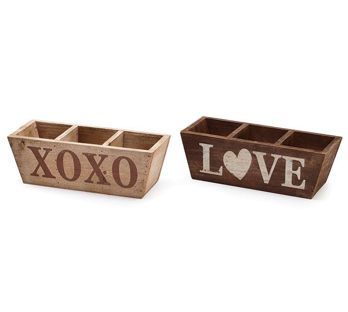 WOOD XOXO/LOVE DIVIDED PLANTER SET